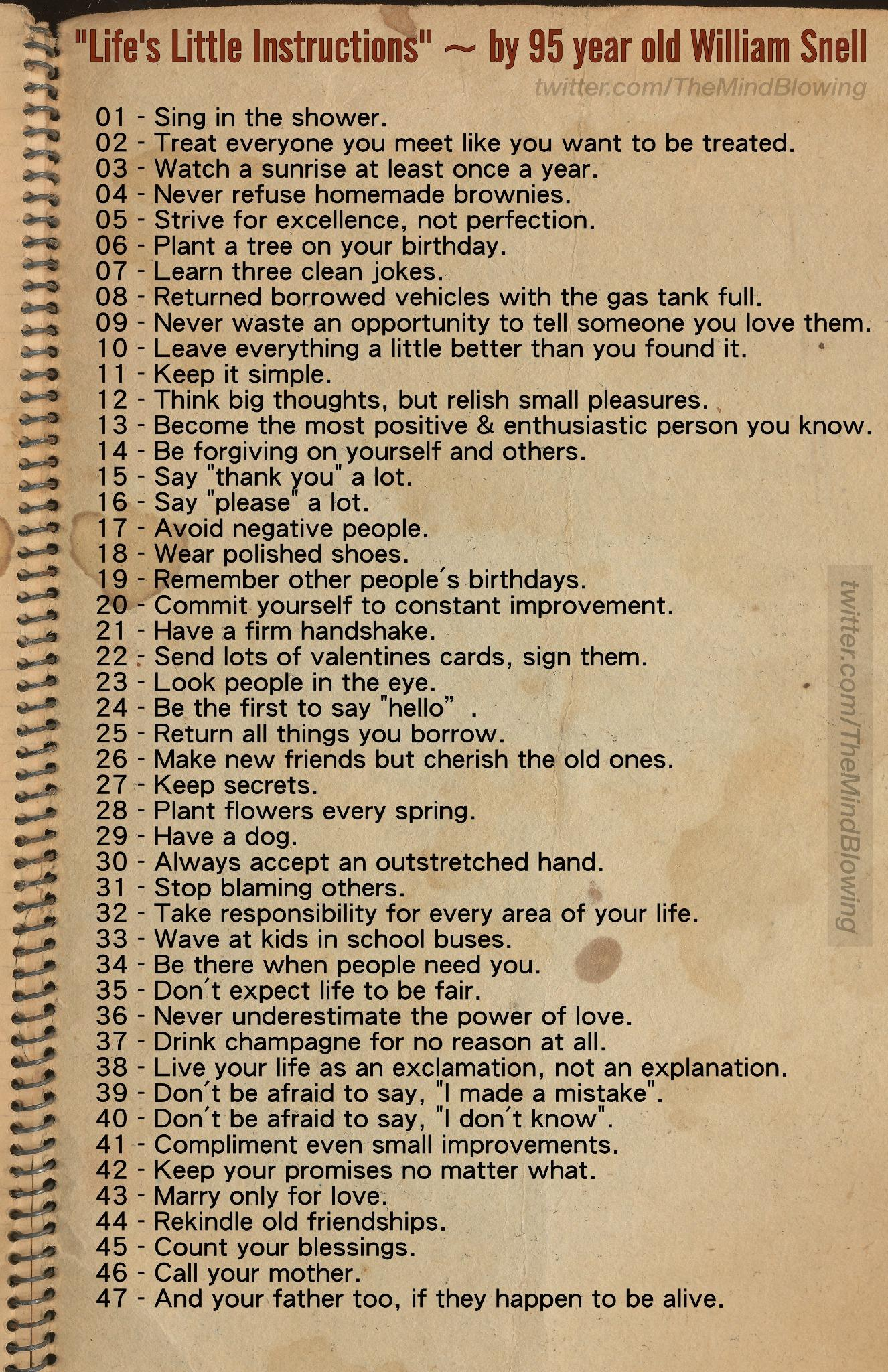 "#MustShare - ""Life's Little Instructions."" By 95 year old man. http://t.co/iwO9yHHdP0"