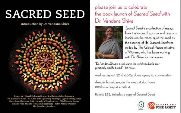 Join us as we welcome @drvandanashiva to #abchome for the book launch of #SacredSeed 10/22 https://t.co/ItLp7IuJpL http://t.co/WBsWPEXtz8