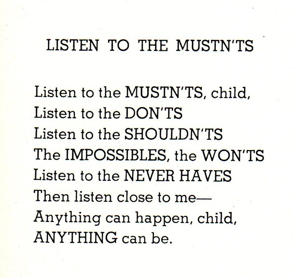 An important reminder that nothing is impossible. #shelsilverstein #poem http://t.co/CFMuVpwCrW