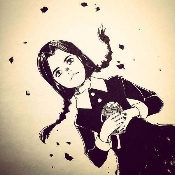 @Sketch_Dailies Wednesday Addams #Inktober2014 @copicmarker #copicart http://t.co/v5cu6pM78b