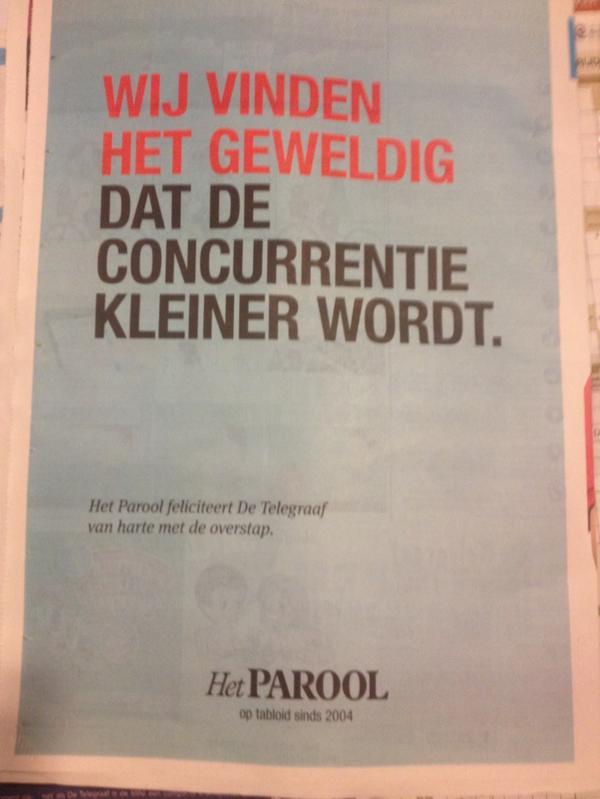 Advertentie vandaag in #Telegraaf. De felicitaties van #parool, dat 10,5 jaar geleden als eerste op tabloid overging http://t.co/GbvOzSr0oi