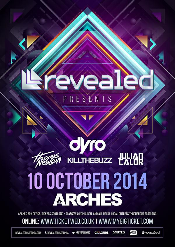 Tonight @RevealedRec family is throwing a party @ArchesGlasgow with @KillTheBuzz @JulianCalor @ThomasNewson & @Dyro http://t.co/i9EKKno0eh