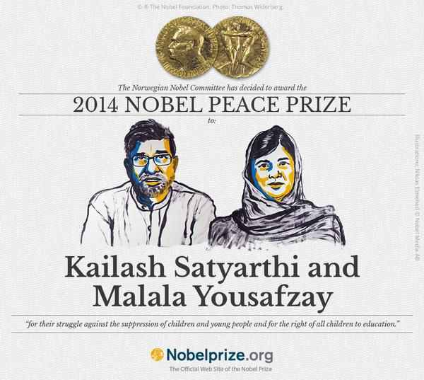 BREAKING NEWS: The #nobelprize2014 in Peace is awarded to Indian Kailash Satyarthi and Pakistani Malala Yousafzay http://t.co/W1K0rh9An6