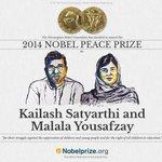 Great news - Malala Yousafzai and Kailash Satyarthi win Nobel Peace Prize - #IndoPakPeace - http://t.co/YEtAUovxdG