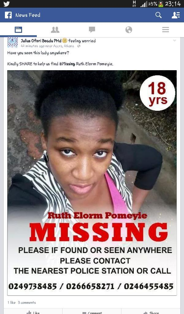 MISSING GIRL - Ruth Elorm Pomeyie. Please help find this beautiful missing teenager. Details on the image.   Share/RT http://t.co/8d64eL2GNv
