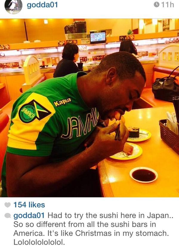 ジャマイカ代表GKが日本で寿司を食べ大感激! 「アメリカの寿司屋と全く違う」