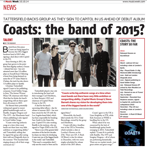 .@coastsband have been tipped as THE band of 2015, not bad ey! Tickets are selling fast for their show #getticketsnow http://t.co/9SMXT2Zmr4