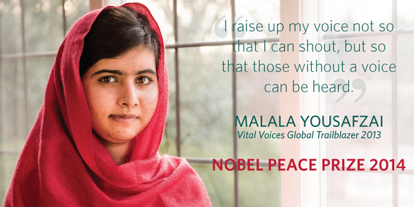 Congratulations to #Malala on her #NobelPeacePrize, fearless champion for girls' education. http://t.co/rYNSC1vssa