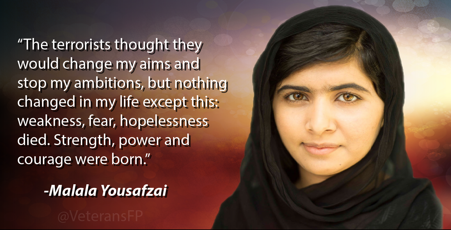 malala yousafzai leadership courage and determination Malala yousafzai - biographical she and her father became known throughout pakistan for their determination to give pakistani girls access the malala fund has.