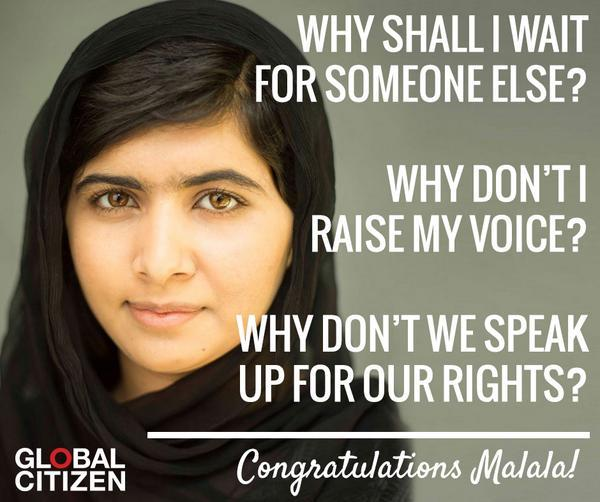 "Congrats #Malala Yousafzai the youngest ever winner of the #NobelPeacePrize! |  ""A war can never be ended by a war"" http://t.co/CkzMABwgQ5"