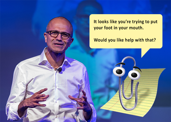 WTF? Microsoft CEO said women should trust in karma that they'll get raises http://t.co/uu4KgDMFax http://t.co/g8xW8lE2Eu