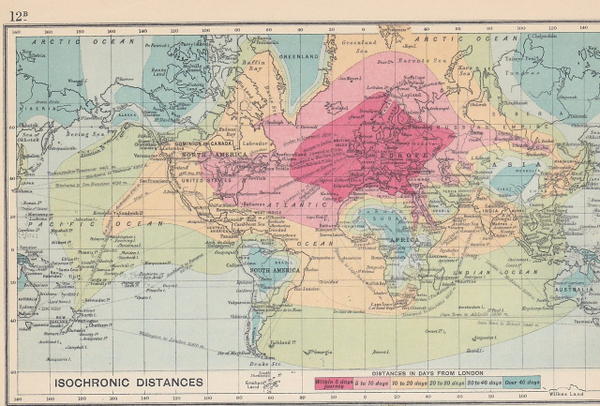 Nice find. RT @isaach: fantastic isochronic map showing 1914 travel times from london around the world http://t.co/XxaaIk28bu