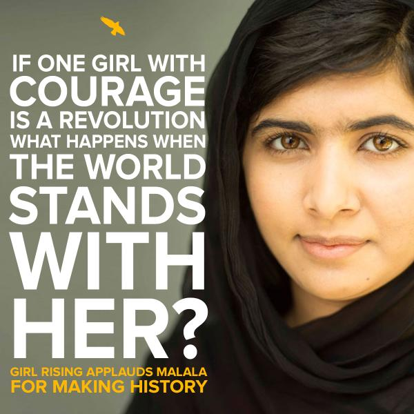 If one girl with courage is a revolution, what happens when the world stands with her? #ChangeIsComing #Malala http://t.co/ZBeJrqY4Sl
