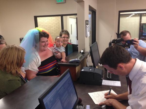 First marriage license granted to #LGBT couple in NC! Congrats Amy and Lauren. #DayOneNC #MarriageEquality http://t.co/rmYpqr3H20