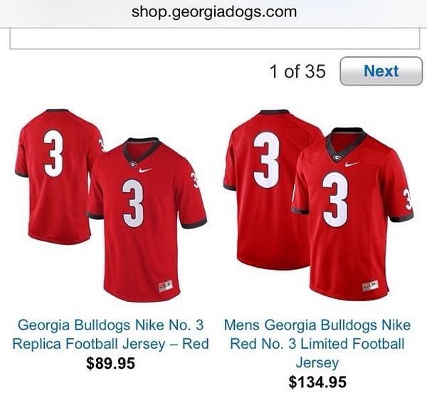 UGA was selling #3 jerseys on their site yesterday. Now they're not. Proof they were selling Todd Gurley's likeness. http://t.co/gqZ5XGLrUM