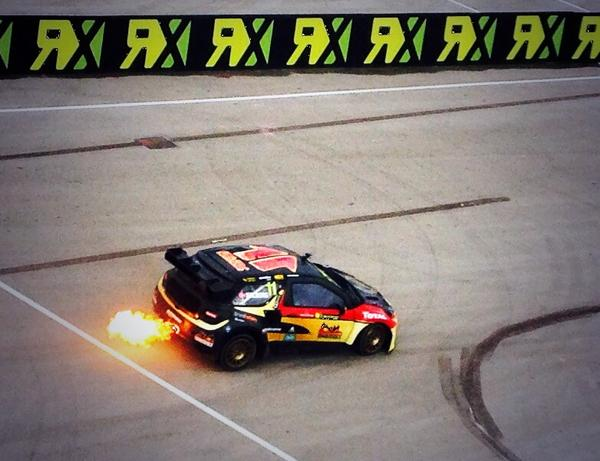 Looks like @Petter_Solberg has fitted a flame-thrower to his car #WorldRX http://t.co/xzYjFFhp9B