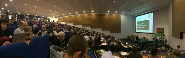 Now for keynotes @Maggie4Scotland @patrickharvie absolutely packed out. Love how happy & proud folk are!