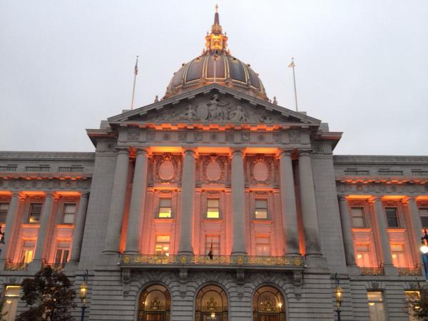 Our entire City is awash in orange and rooting for our hometown team! #SFGiants #NLCS #BeatSTL #OctoberTogether http://t.co/S6kEDncCjg