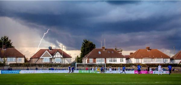 Fab photo of lightning striking over the Harry Abrahams Stadium by @StuartTree http://t.co/F4PjMXQQGg