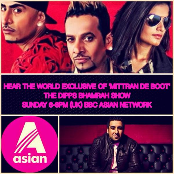 The #DippsBhamrahShow on @bbcasiannetwork tomorrow 6-8pm (UK) to hear @drzeusworld @jazzyb @KaurBmusic #MitranDeBoot http://t.co/VqWcn4vDsQ