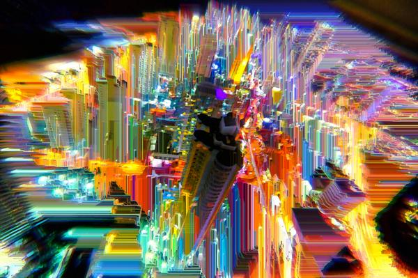 Have you ever noticed that Cyberpunk Cities are like Neon Circuitboards? #glitchart #glitch #cyberpunk #neon http://t.co/HhyZH44Dyk