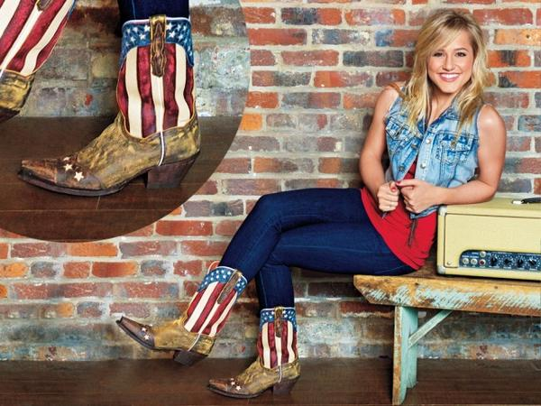 Artist @MarySarahMusic is styling in a Shyanne denim vest & tank from @bootbarn @WranglerJeans & @DanPostBootCo