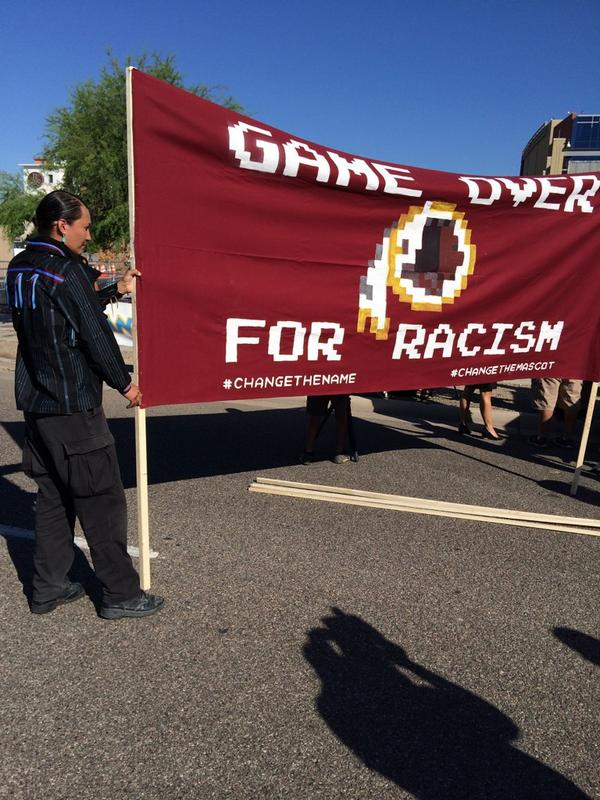 Set up at #ChangetheName #NotYourMascot rally at #WASvsAZ http://t.co/E4khkZ3aXm