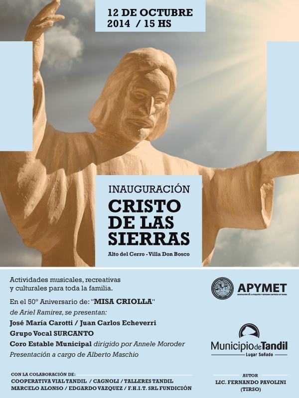 Inauguración del Cristo de las Sierras, donado x APyMET, con @danielscioli acompañando al Intendente Lunghi. #Tandil http://t.co/ZgQMU82Izn