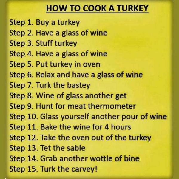 Love this! How (Not) to Cook a Turkey: Drink 2 much #Wine ➽ http://t.co/6y1ekCufsp