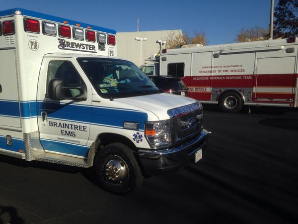 Brewster Ambulance transporting with police escort, one driver in HazMat gear. http://t.co/P2Si974vpB