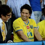 Enjoyed being thr at salt lake football stadium yday 4 Indian soccer league  with two legends @SrBachchan @sachin_rt
