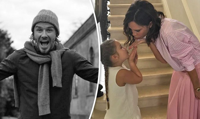 Victoria Beckham, Harper, Romeo and Brooklyn wish David a happy 42nd birthday.