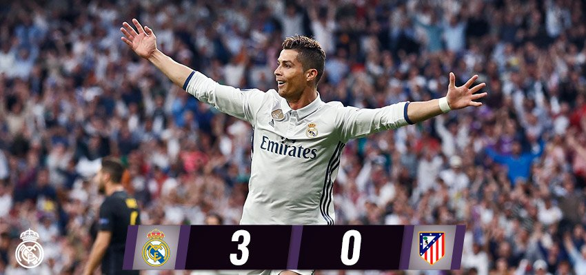 �� FT: #RealMadrid 3-0 @Atleti (@Cristiano 10', 73', 86').  #RMUCL #HalaMadrid https://t.co/Z4VRFMHMEU