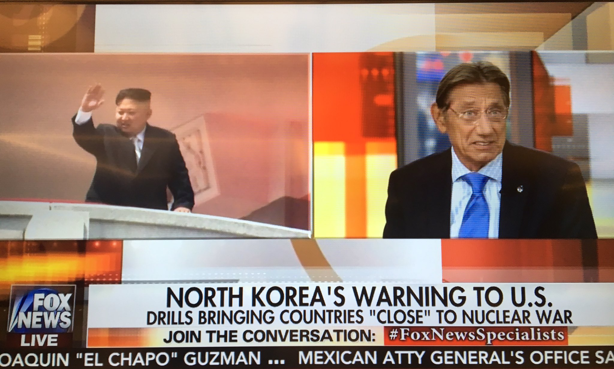 Who better than @RealJoeNamath to discuss the threat of nuclear war with North Korea? #FoxNewsSpecialists https://t.co/nKvjsJs2xt