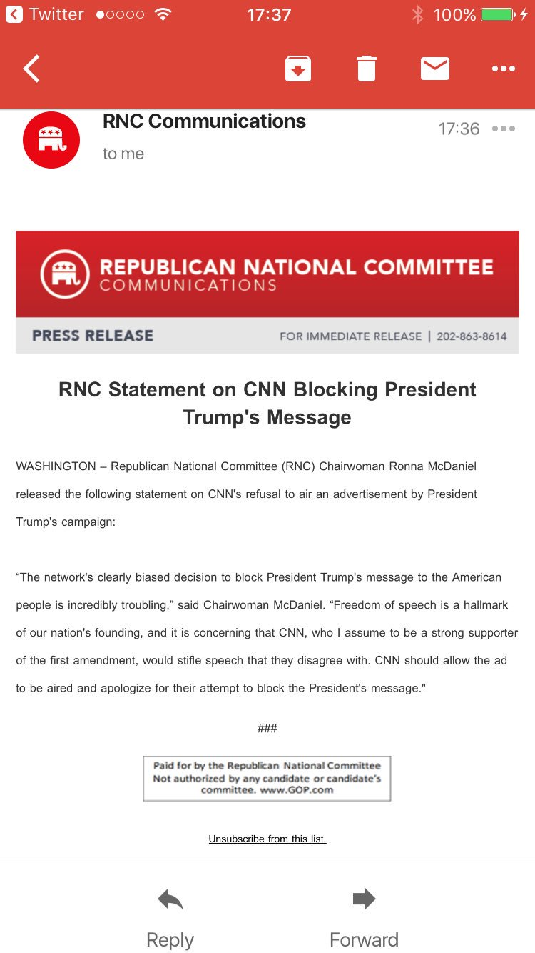 Inbox: 'RNC Statement on CNN Blocking President Trump's Message' https://t.co/JSK7sSLhbR