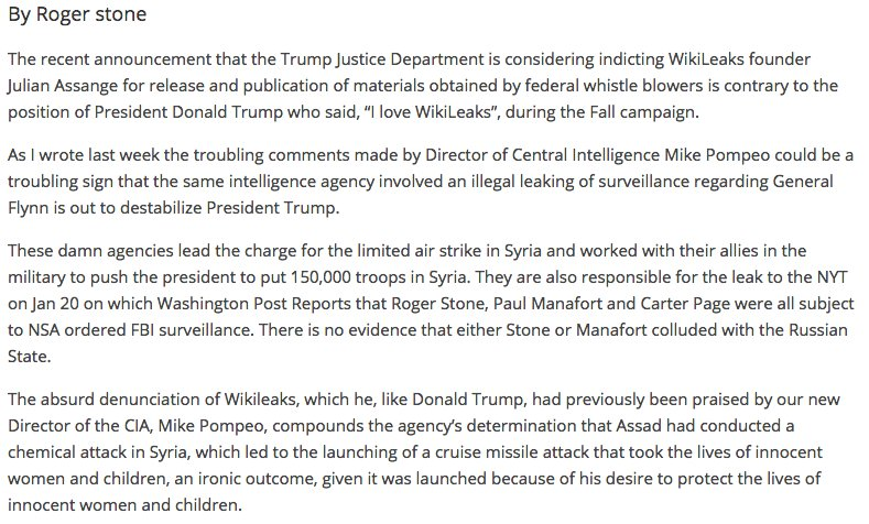 "Long time Trump advisor @RogerJStoneJr hits out at the CIA's ""Legacy of Lies"""