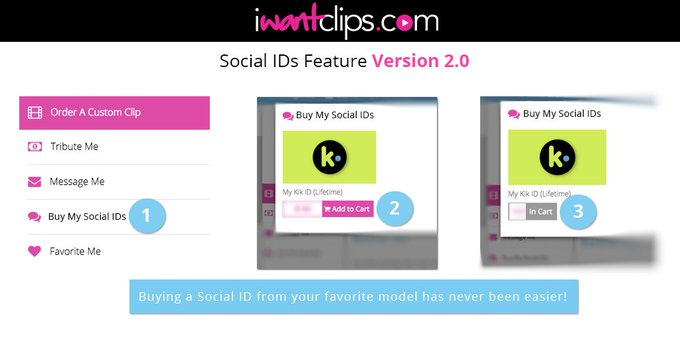 Did you know you can buy your favorite model's Social IDs (Skype/Snapchat/Kik/etc) on @iWantClips ??