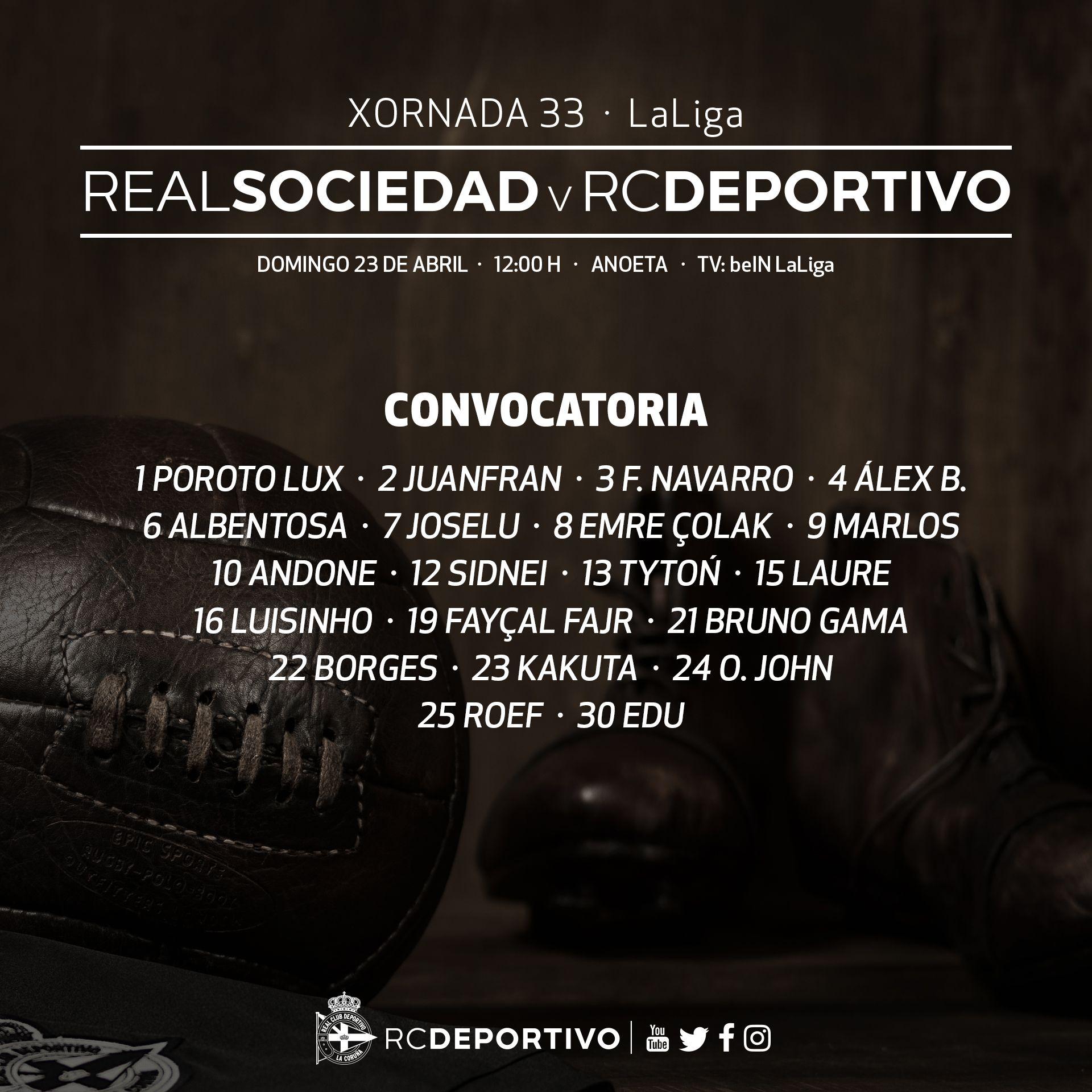 Listaxe d #osnosos convocados para a 33ª xornada de @LaLiga: #RealSociedadDépor, mañá ás 12:00 h. en Anoeta #DaleDÉ https://t.co/ShToHf5y2s