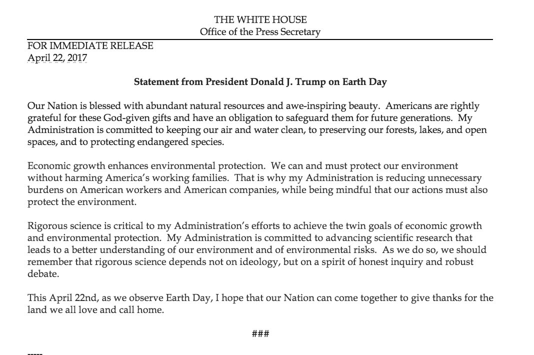 Statement from President Donald J. Trump on Earth Day https://t.co/LUd32QgsBq