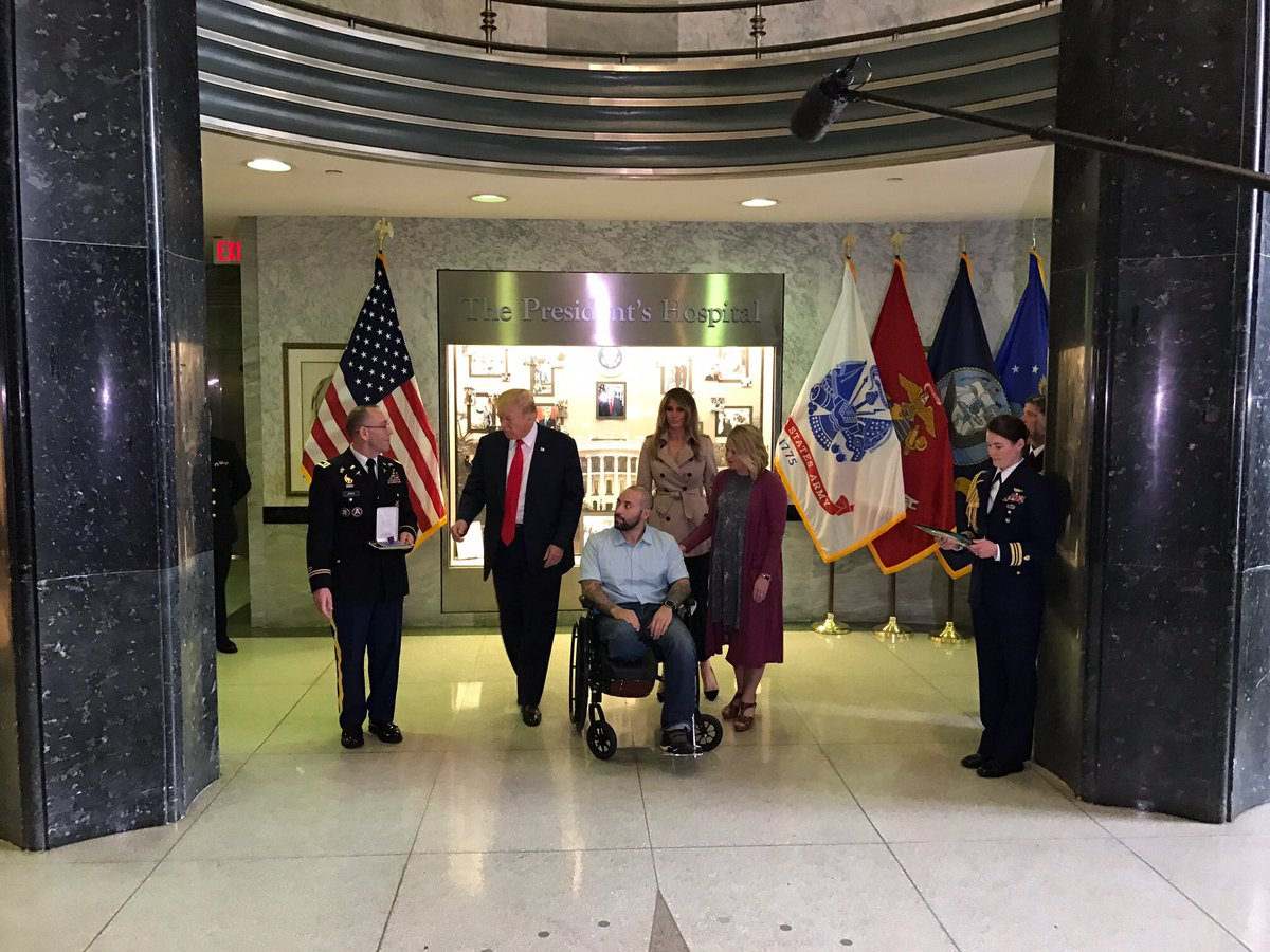 At Walter Reed today, @POTUS President presented the Purple Heart to Sgt. First Class Alvaro Barriento
