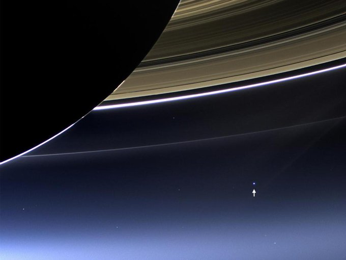 Why are we posting this pic of Saturn on #EarthDay? See that bright dot? That's Earth, as seen from @CassiniSaturn: https://t.co/vYNrYrMeUt