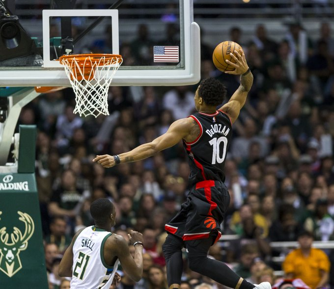 All tied up!  Raptors beat the Bucks on the road in Game 4 to even the series at 2-2  DeMar DeRozan - 33/9/5