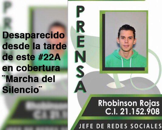 Nuestro jefe de Redes Sociales está desaparecido desde la tarde de este 22 de abril durante cobertura de la ¨Marcha del Silencio¨