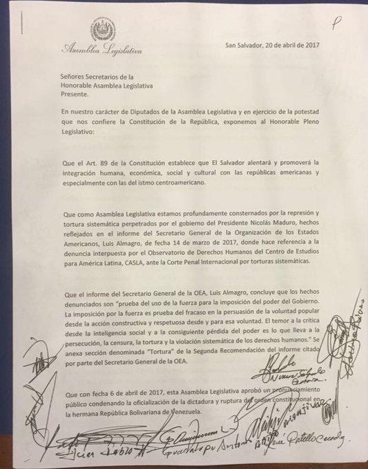 Asamblea Legislativa de El Salvador @AsambleaSV se adhiere a denuncia en Corte Penal Internacional sobre torturas en #Venezuela