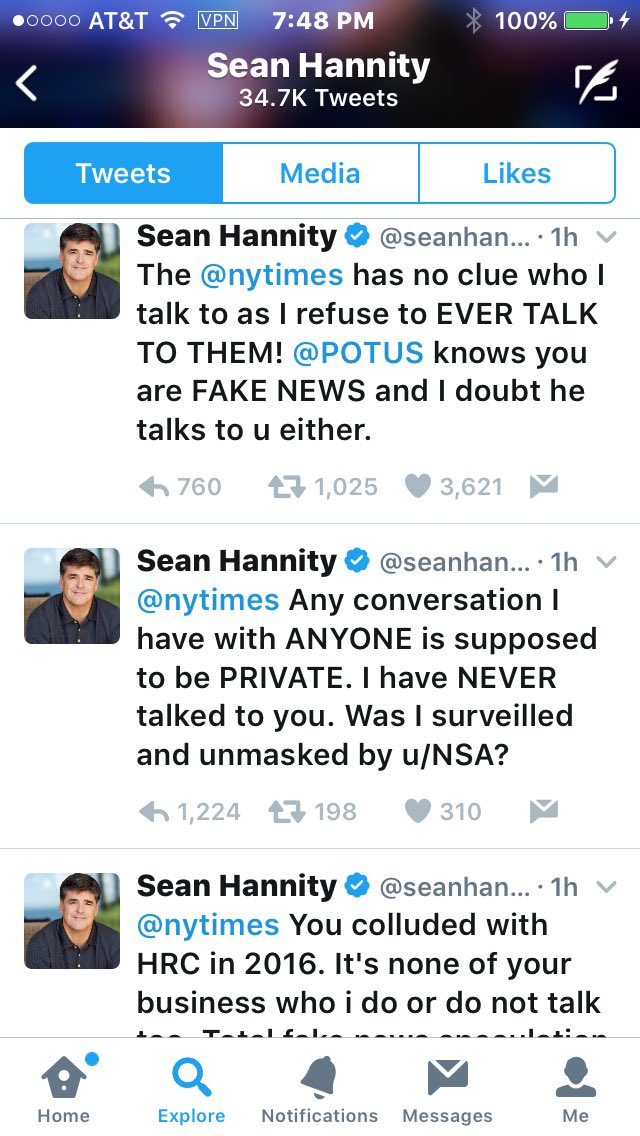 Dear @seanhannity: you can block me but I can still see you. And if you have a conversation with somebody THEY MIGHT TELL, Dipshit