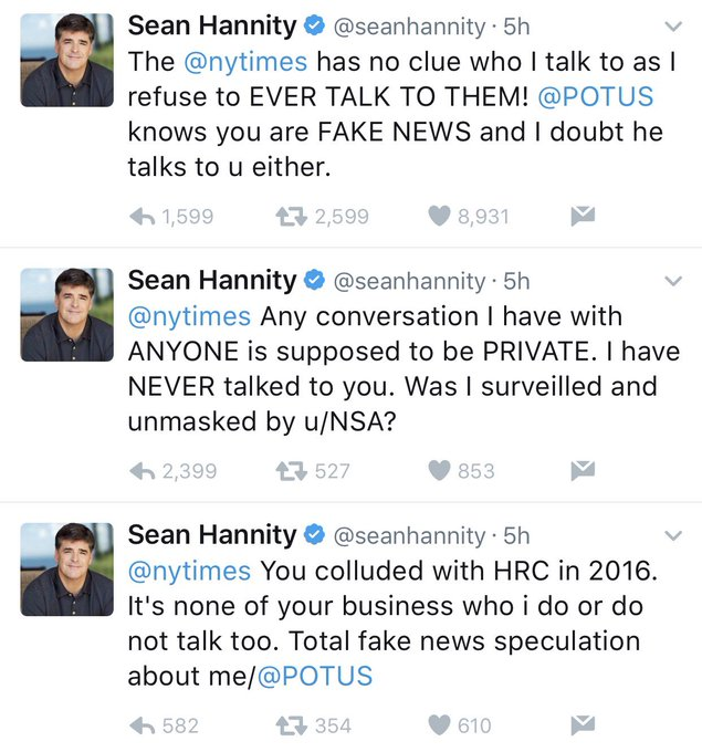 So this ridiculous rant is just @seanhannity's #humblebrag way of making sure his fans know he does talk to @realDonaldTrump, I guess?