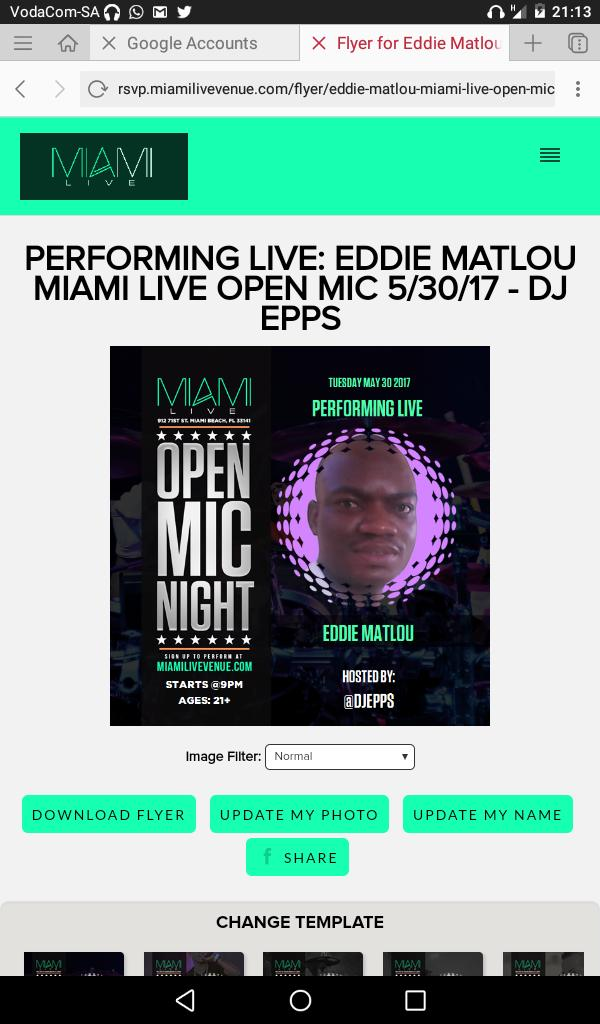 Congrats to Eddie Matlou,2017 Miami Live Performer Winner,tanx for your support south Africa! https://t.co/6CG8V2fLQj