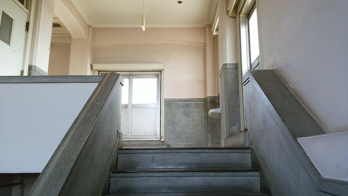 ドラマ『咲-saki-』ロケ地巡り#筑波海軍航空隊記念館 /笠間市1話で咲が初めて麻雀部へ行く時の階段。踊り場付近はさな