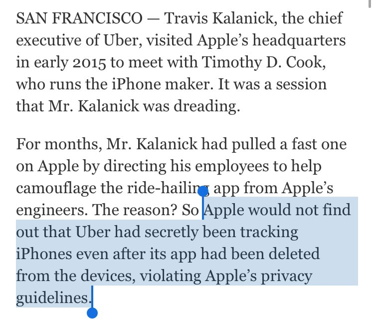 Wow. Uber secretly tracked users after they deleted app. Tim Cook found out, threatened Kalanick w/ App Store deletion until Uber stood down