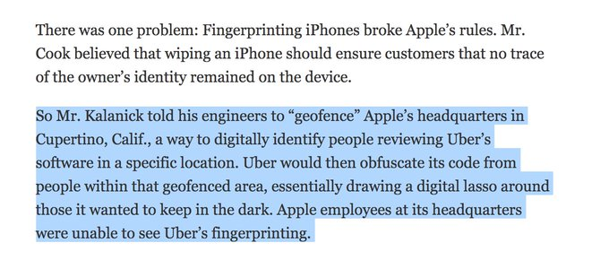 O@HarshilShah1910MG: Uber geo-fenced Apple HQ, so their app-review team couldn't see that they were breaking the rules 🙃 https://t.co/QIbc